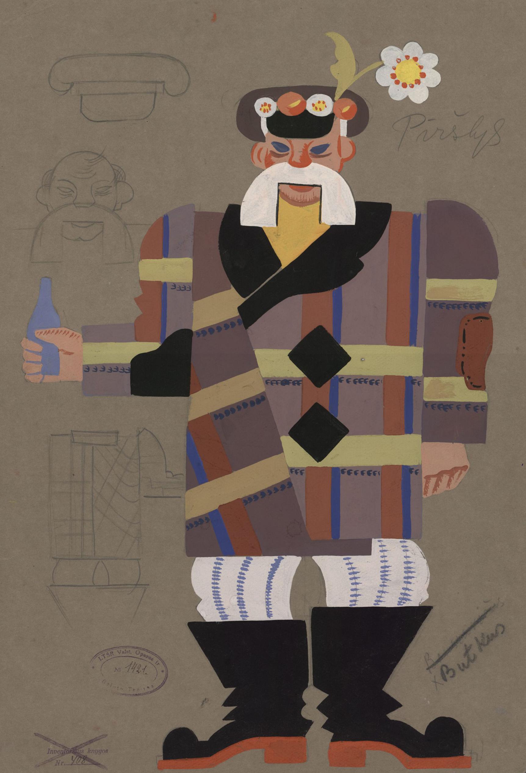 Stasys Ušinskas, Valstybės teatras, kostiumo eskizas