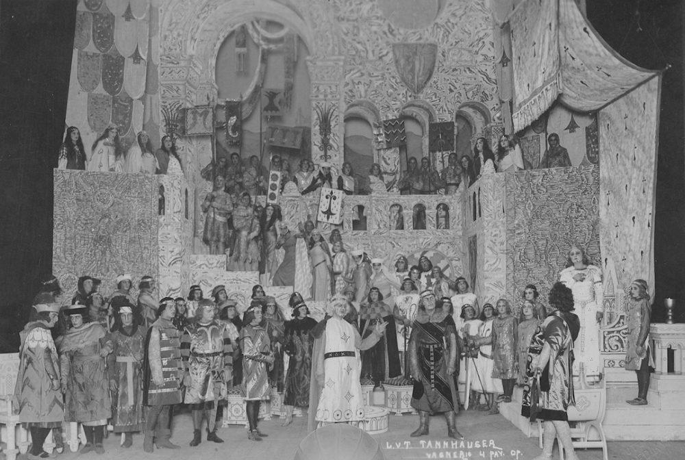 """Mstislavas Dobužinskis, Kipras Petrauskas, Stasys Sodeika, Vladislava Grigaitienė, opera """"Tanhoizeris"""""""