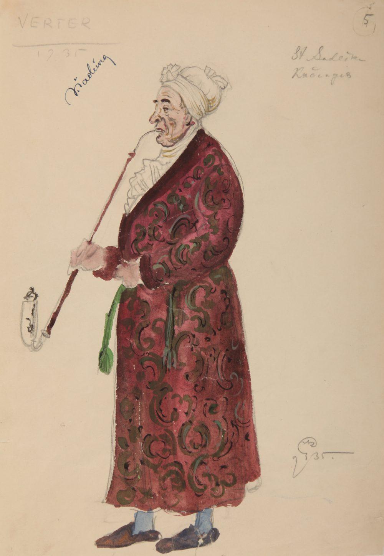 """opera """"Verteris"""", Mstislavas Dobužinskis, kostiumo eskizas"""